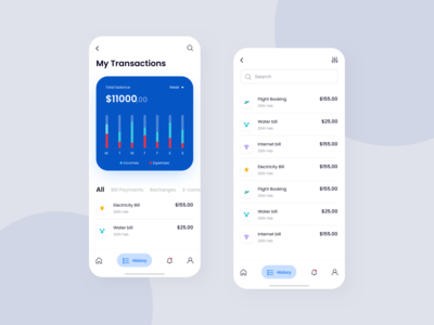 My Transactions Screen finance app wallet business budget analytics dashboard clean ui ui transactions send money blue payment pay modern creative contacts clean colorful banking app