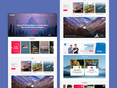 Travel site landing page