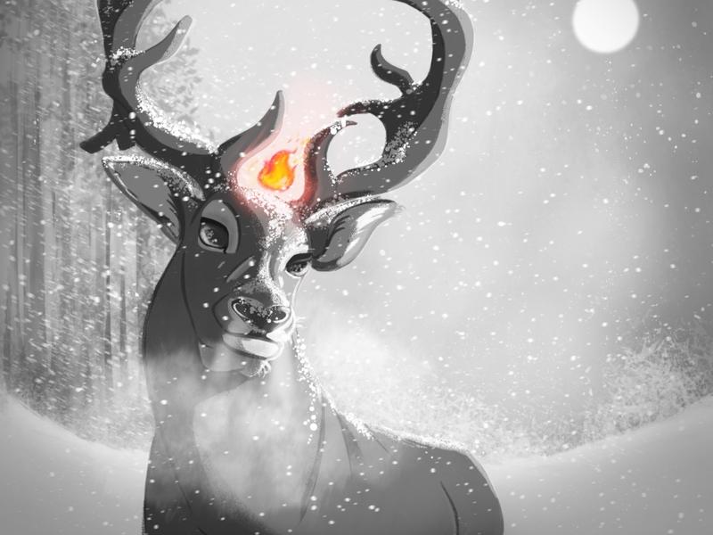 Deer king winter forest king deer illustration