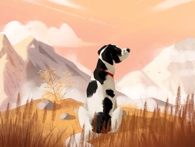 Luna in mountains speedpainting background mountain illustration dog