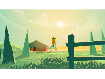 On the countryside farm country background illustration