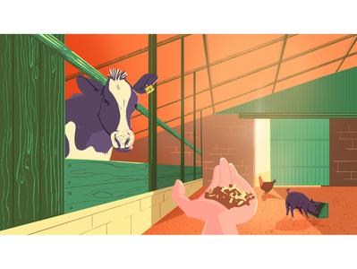 Farm life pig animals breeding barn chicken cow farm country background illustration