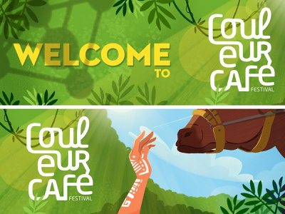 Couleur Cafe - Introduction scene music forest cow tribal hand festival jungle animation visualdevelopment background illustration