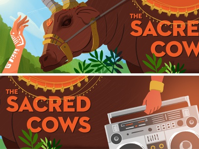 Couleur Cafe - Holy cow hand forest jungle festival music cow animation visualdevelopment background illustration