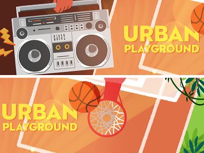 Couleur Cafe - Urban playground playground basketball urban basket music festival background visualdevelopment illustration