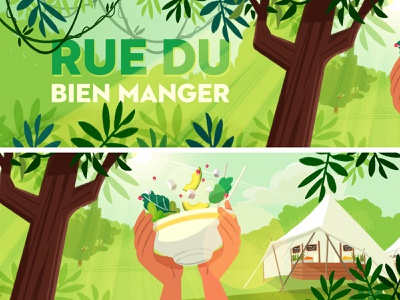 Couleur Cafe - Street vegetarian food healthy green jungle vegetarian streetfood food forest music festival background visualdevelopment illustration