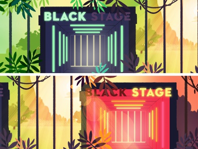 Couleur Cafe - stage forest electro stage jungle festival music visualdevelopment background illustration