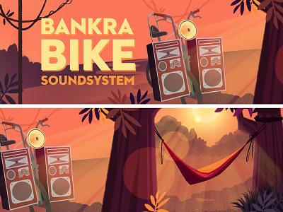 Couleur Cafe - Bike soundsystem storyboard visualdevelopment sunset hammock sound bike jungle festival music forest background illustration