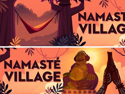 Couleur Cafe - Namaste sunset buddha namaste yoga animation storyboard jungle music forest festival visualdevelopment background illustration