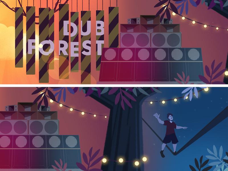 Couleur Cafe - Dub Forest soundwall dubstep slackline animation storyboard music jungle festival forest visualdevelopment background illustration