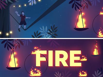 Couleur Cafe - Fire slackline fire night storyboard jungle music forest festival visualdevelopment background illustration
