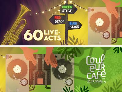 Couleur Cafe - Live acts stage dj show live storyboard jungle music forest festival visualdevelopment background illustration