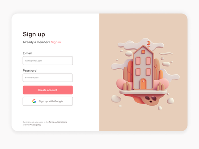 Sign up form sign up minimal ux ui webdesign