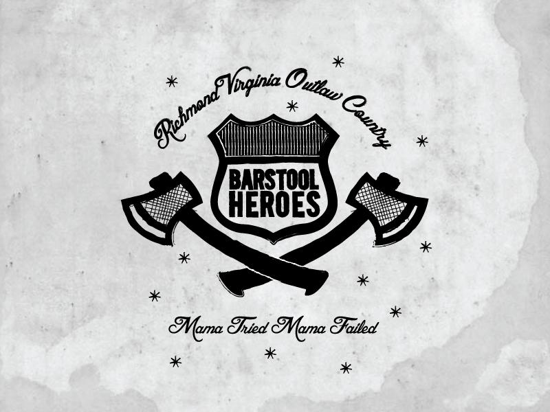 Barstool Heroes Badge Logo barstool bar axe americana outlaw country music retro usa virginia logo badge