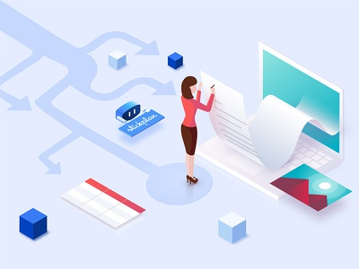 Slickplan content planning Facebook ad marketing illustration