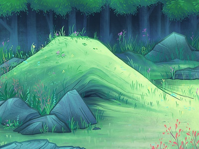 A Curious Knoll trees forest landscape nature animation background illustration