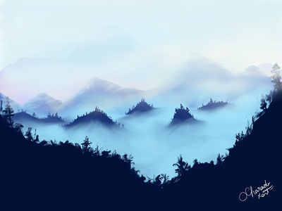Forest 1 Dribbble draw realistic cloud painting digital illustration procreate ipad mountain