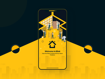 B8ak Home Services App home cleaning services black yellow moile app illustration branding android ios design ux ui