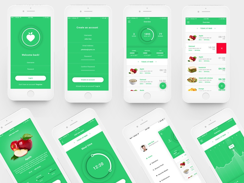Mobile Fit app ui fitness ios android dashboard profile ux ui app design