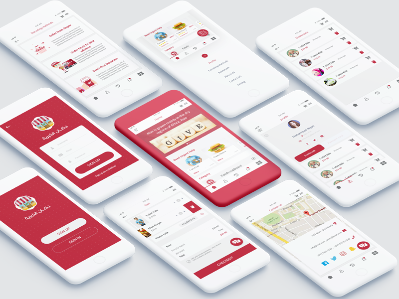 Donation shopping App shipping shopping cart ux ui design mobile payment app store