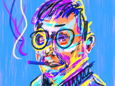 Smoking old hipster