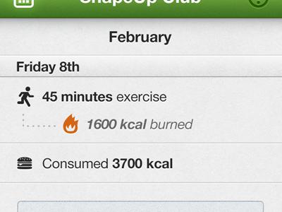February iphone app ios green ui interface glyph texture