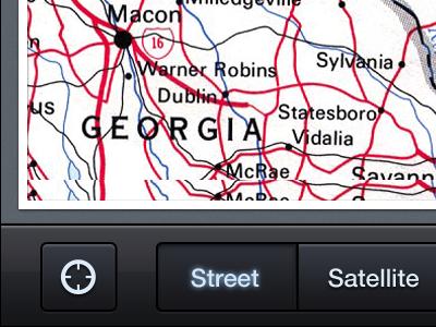 Map App iphone app dark glow button map ui