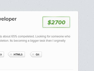 $2700 website ui tags job money green stamp developer designer light texture button