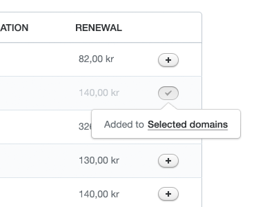 Selected domains button ui plus check icon pressed control panel domains server web app