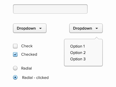 UI elements dropdown radial checkbox text input field blue elements ui button