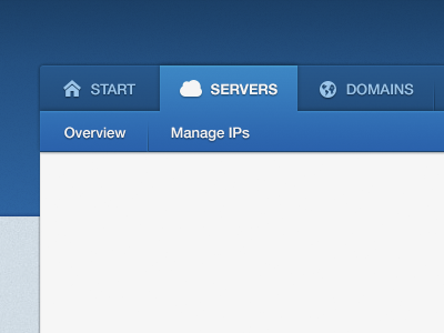 Servers navigation menu blue button tabs website ui