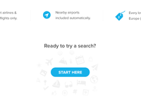 Start here dailyui ux ui blue button flight website icons search here start