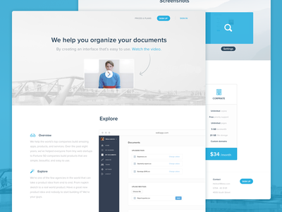 Document web app overview table pricing interface user ux ui design app web document