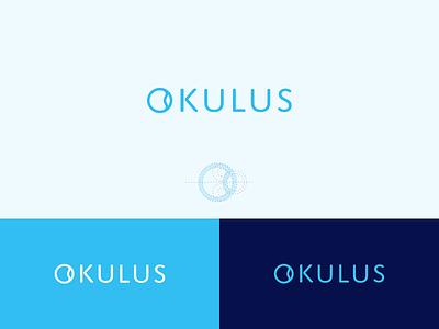 Okulus Logo o monogram healthcare hospital retina iris oculus clinic doctor eye branding symmetrical blue care medical medic typography logo