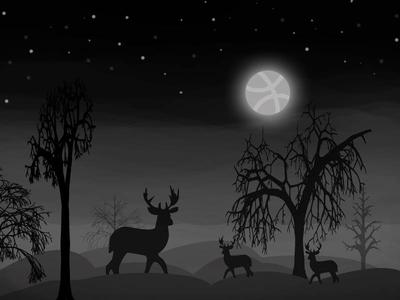 View of desert at night tree star moon dear night