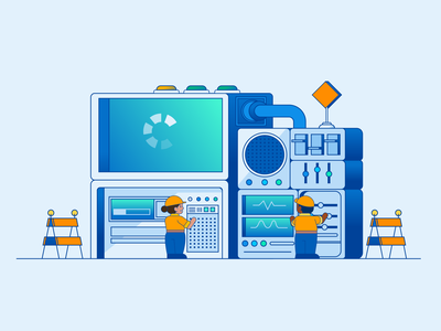 Testing in Production repair testing mini super computer computer branding graphic design character abstract vector illustrator illustration