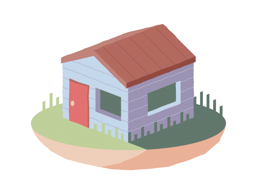 basic box home illustration cabin house