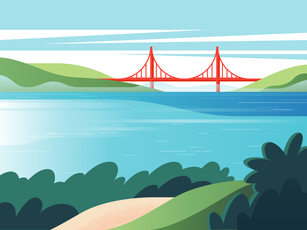Lands End blue cool editorial illustration editorial landscape beach water golden gate san francisco bay area bay blues illustration