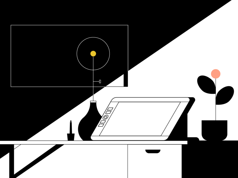 studio space light shadow vector studio office illustration
