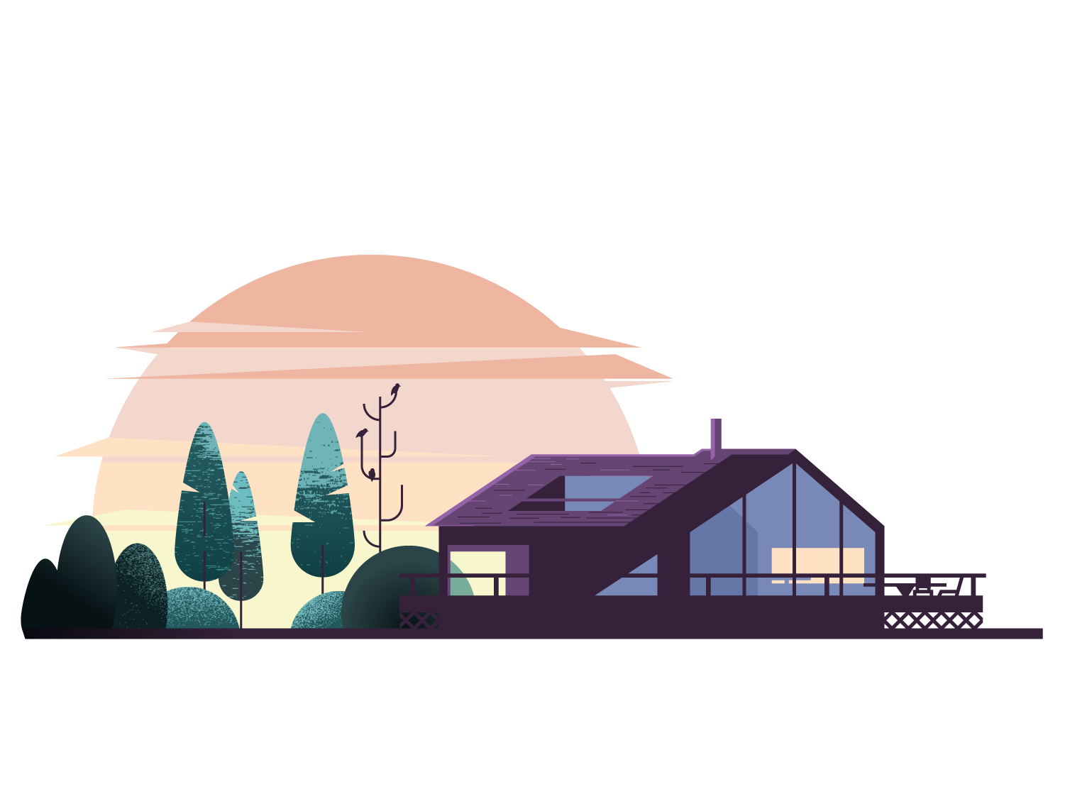 Weekend plans. getaway cabin vector vacation forest sunrise illustration practice texture shape shadow