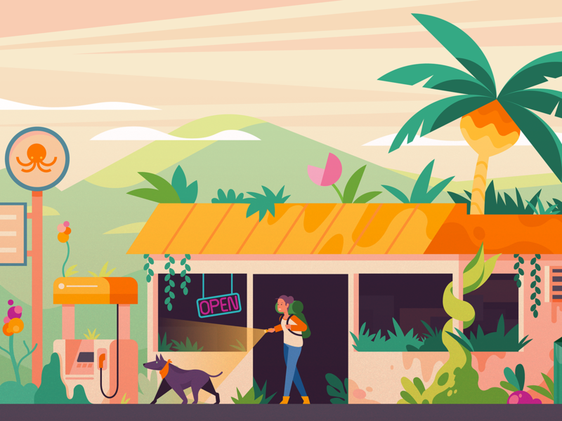 Dystopian Plants art explore dog art store gas station sci-fi jungle plants future vector illustration