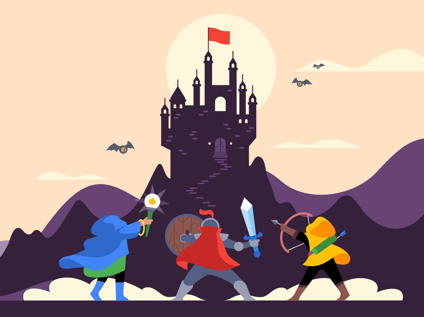 The Final Battle castle warrior archer wizard knight vector illustrator illustration video games gaming