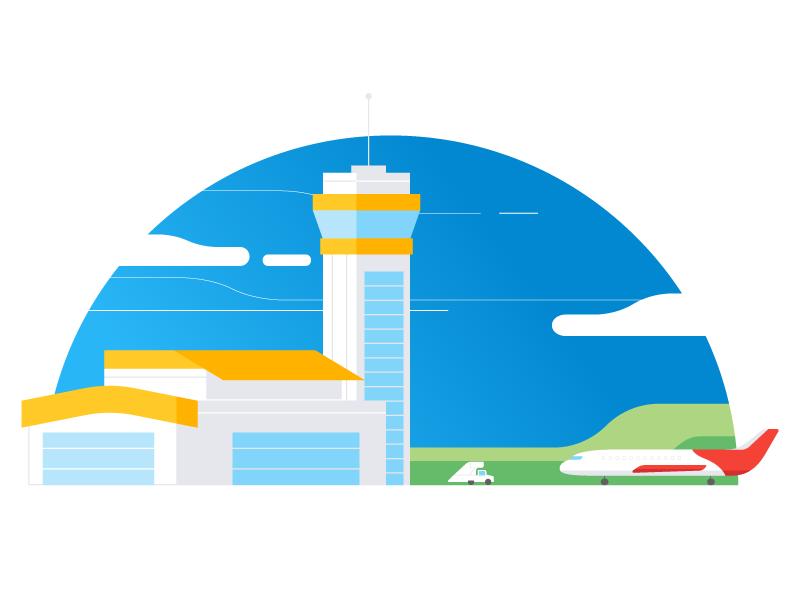 Flights airport travel plane airplane flight illustrator vector illustration