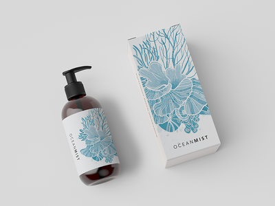 Cosmetic Bottle Packaging watercolour illustration label coral ocean