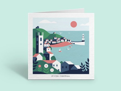 StIves Illustration seaside st ives geometric flatvector cornwall