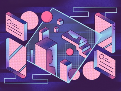 The Gaming World research minds psychology device cmyk color screenprint glitch retro purple isometric gradient noise texture noise gaming virtual reality virtual