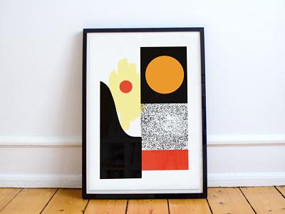 Geometric Terrain No 1 sun and moon bright colourful bold shapes minimal landscape sunset hill mountain geometric