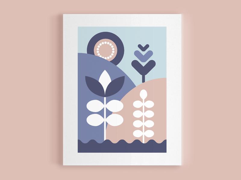 Folk Landscape symmetry mountain flower plant hill sun icon landscape vector scandanavian folk