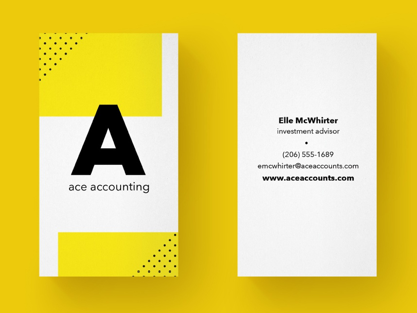 Business Card Typographic dots letter simple minimal geometic typography accounting layout business suite business card