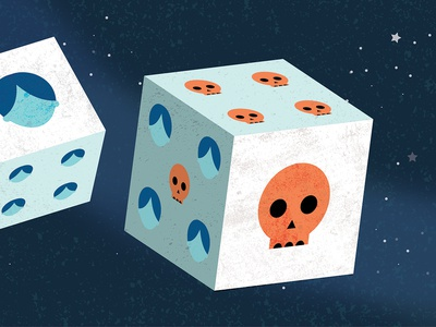 Ethics space skull illustration editorial philosophy life death dice chance choice ethics